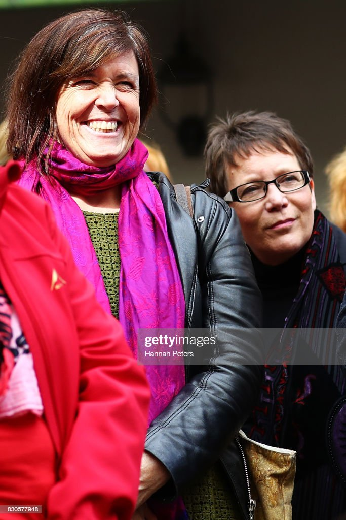 Greens Party MP Jan Logie and New Zealand First Party MP Tracey Martin look on during a rally for pay equity in New Zealand on August 12, 2017 in Auckland, New Zealand. Opposition MPs and members of the public are protesting against the government's Pay Equity Bill ahead of its anticipated first reading in parliament on Tuesday.