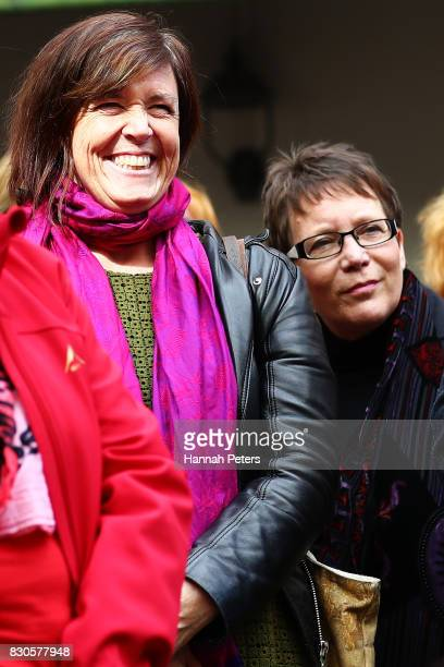 Greens Party MP Jan Logie and New Zealand First Party MP Tracey Martin look on during a rally for pay equity in New Zealand on August 12 2017 in...