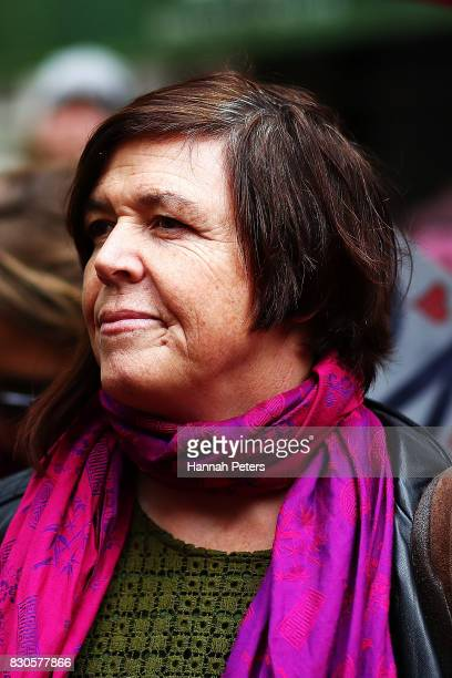 Greens Party MP Jan Logie looks on during a rally for pay equity in New Zealand on August 12 2017 in Auckland New Zealand Opposition MPs and members...