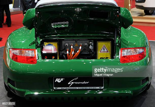 Greenster electric car based on a Porsche 911 is pictured during the second press day at the 79th Geneva International Motor Show on March 4 2009 in...