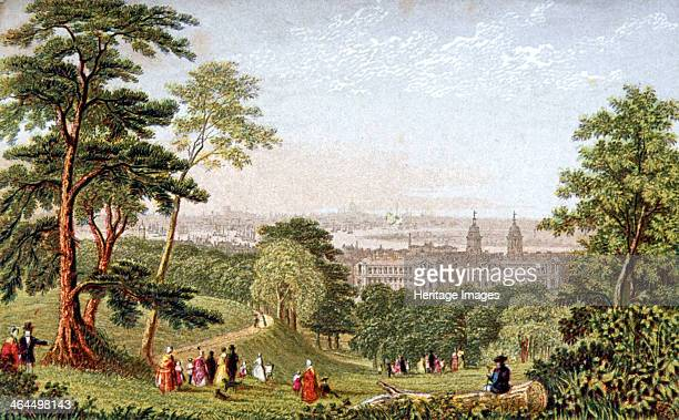 Greenwich Park Greenwich London c1840 View of London from Greenwich Park with the River Thames and Greenwich Hospital in the middle distance and...