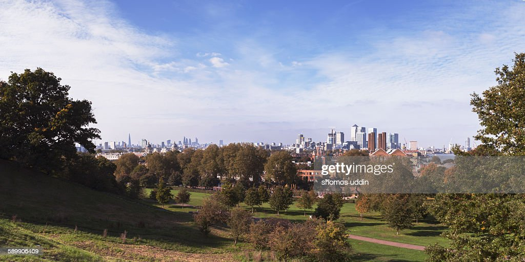 Greenwich park with view of the city skyline
