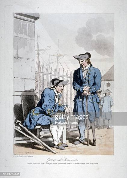'Greenwich Pensioners' 1808 Two figures one seated and the other standing