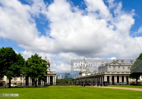 Greenwich's Old Royal Naval College with Canary Wharf