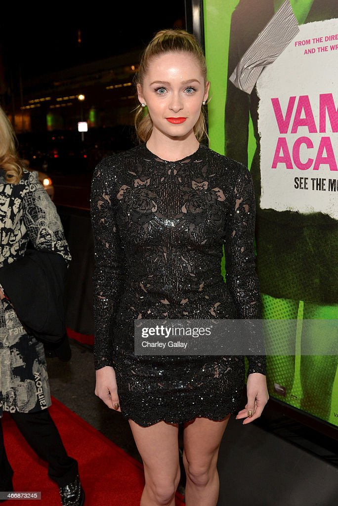 <a gi-track='captionPersonalityLinkClicked' href=/galleries/search?phrase=Greer+Grammer&family=editorial&specificpeople=4524282 ng-click='$event.stopPropagation()'>Greer Grammer</a> arrives at The Weinstein Company's premiere of 'Vampire Academy' at Regal 14 at L.A. Live Downtown on February 4, 2014 in Los Angeles, California.