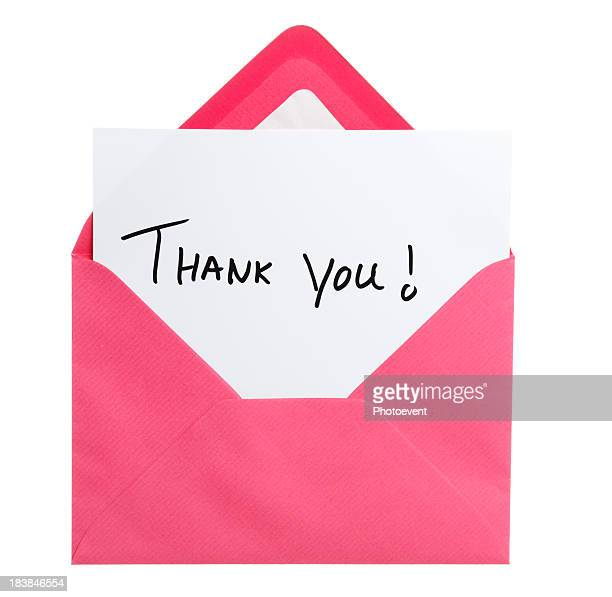 Greeting card in pink envelope