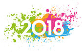 New Year 2018 date painted with colorful stains