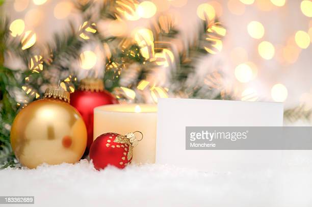 Greeting card with christmas balls and pine tree
