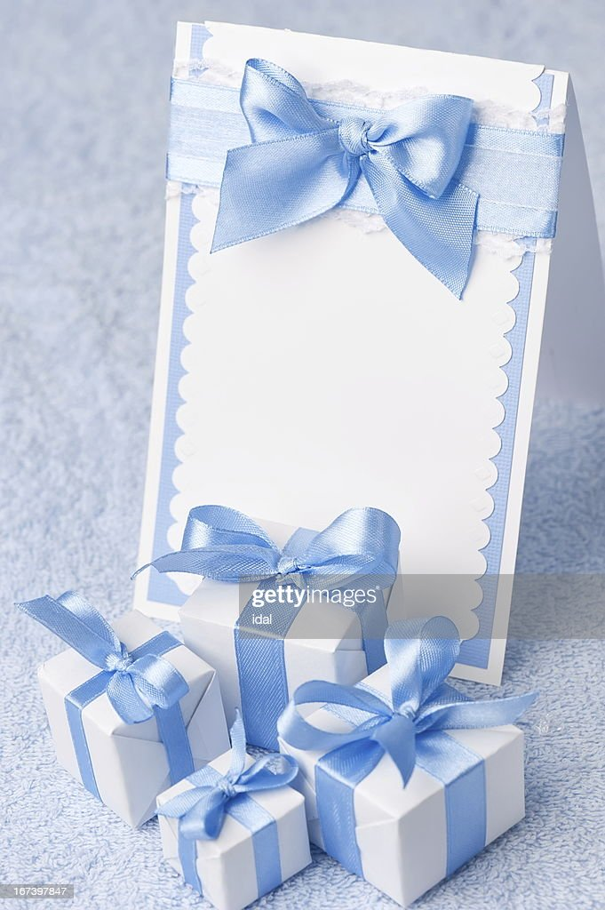 Greeting card with gifts : Bildbanksbilder