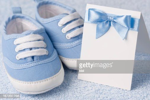 Greeting children form with booties : Stock Photo