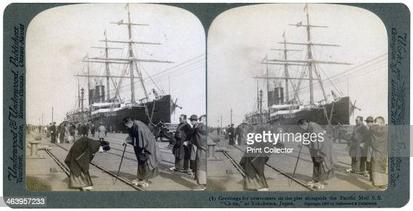 Greeting for newcomers on the pier alongside the Pacific Mail SS 'China' Yokohama Japan 1904 Stereoscopic slide