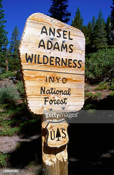 A greeting sign for the Ansell Adams Wilderness Area, in the Sierra Nevada region of California