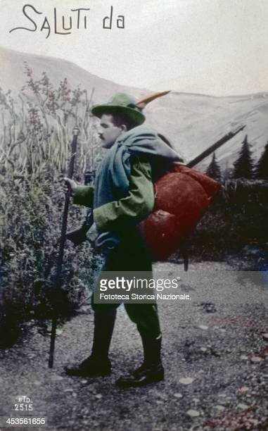 'Greetings from ' An Alpine soldier during World War I Photographic postcard handcoloured Italy approx 1916