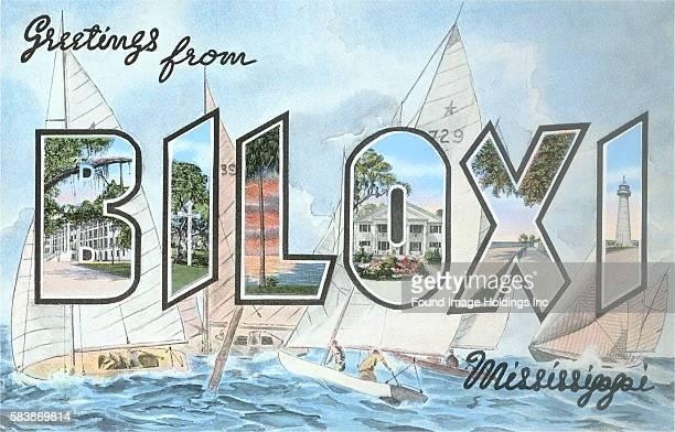 Greetings from Biloxi Mississippi large letter vintage postcard