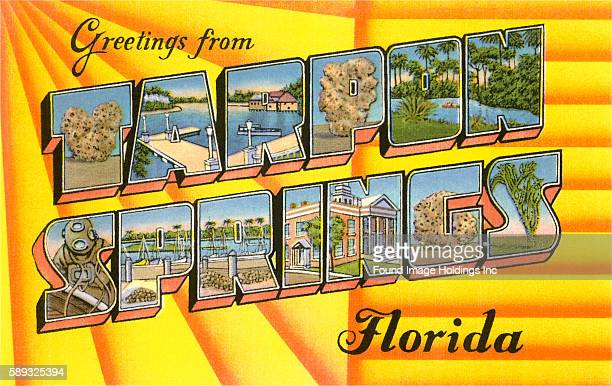 Greetings from Tarpon Springs Florida large letter vintage postcard
