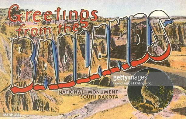 Greetings from the Badlands National Monument South Dakota large letter vintage postcard