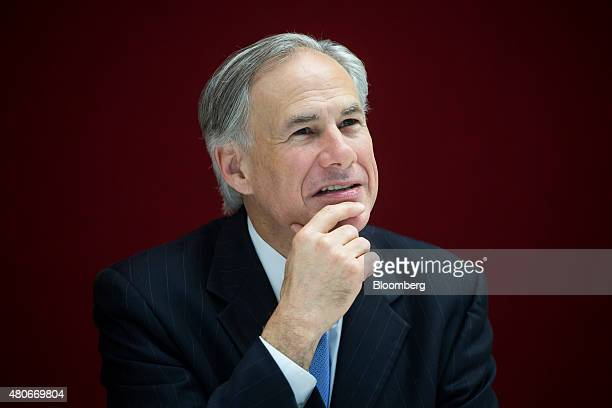 Greg Abbott governor of Texas pauses during an interview in New York US on Tuesday July 14 2015 Since Texas won a court case allowing it to refuse...