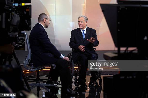 Greg Abbott governor of Texas right speaks during a Bloomberg Television interview in New York US on Tuesday July 14 2015 Since Texas won a court...