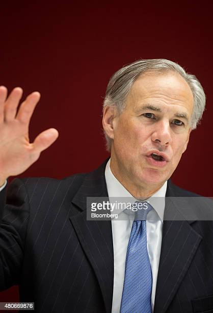 Greg Abbott governor of Texas speaks during an interview in New York US on Tuesday July 14 2015 Since Texas won a court case allowing it to refuse...