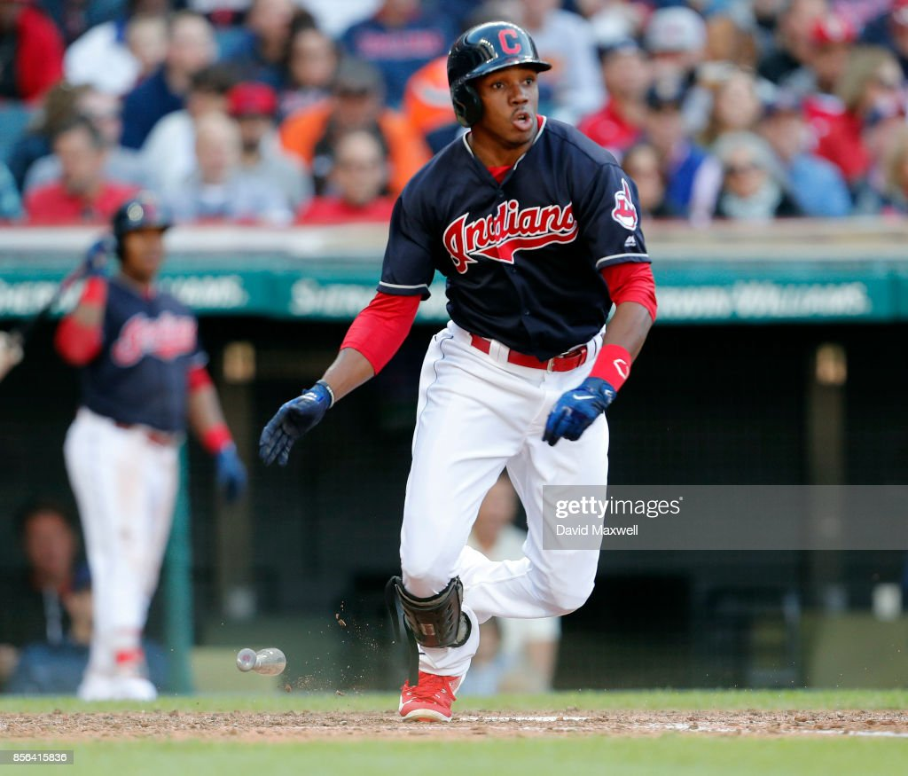 Greg Allen #53 of the Cleveland Indians hits into a fielders choice against the Chicago White Sox in the seventh inning at Progressive Field on October 1, 2017 in Cleveland, Ohio. The Indians defeated the White Sox 3-1.