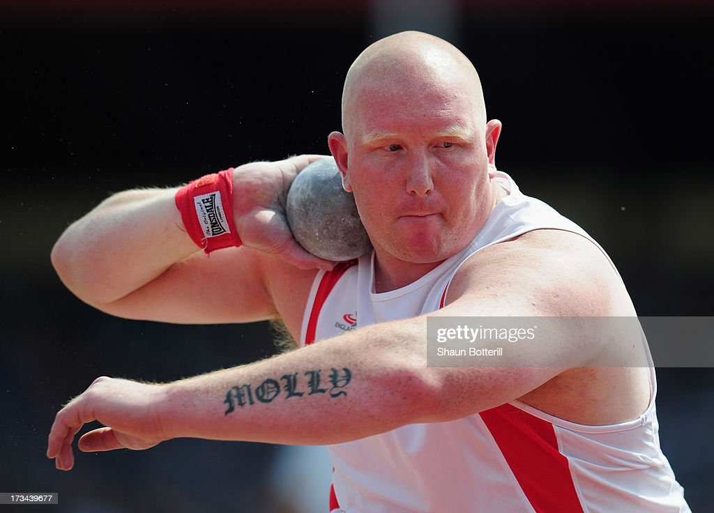 Greg Beard of Newhan E B competes in the Men's Shot Put Final during the Sainsbury's British Athletics World Trials and UK & England Championships at Birmingham Alexander Palace on July 14, 2013 in Birmingham, England.