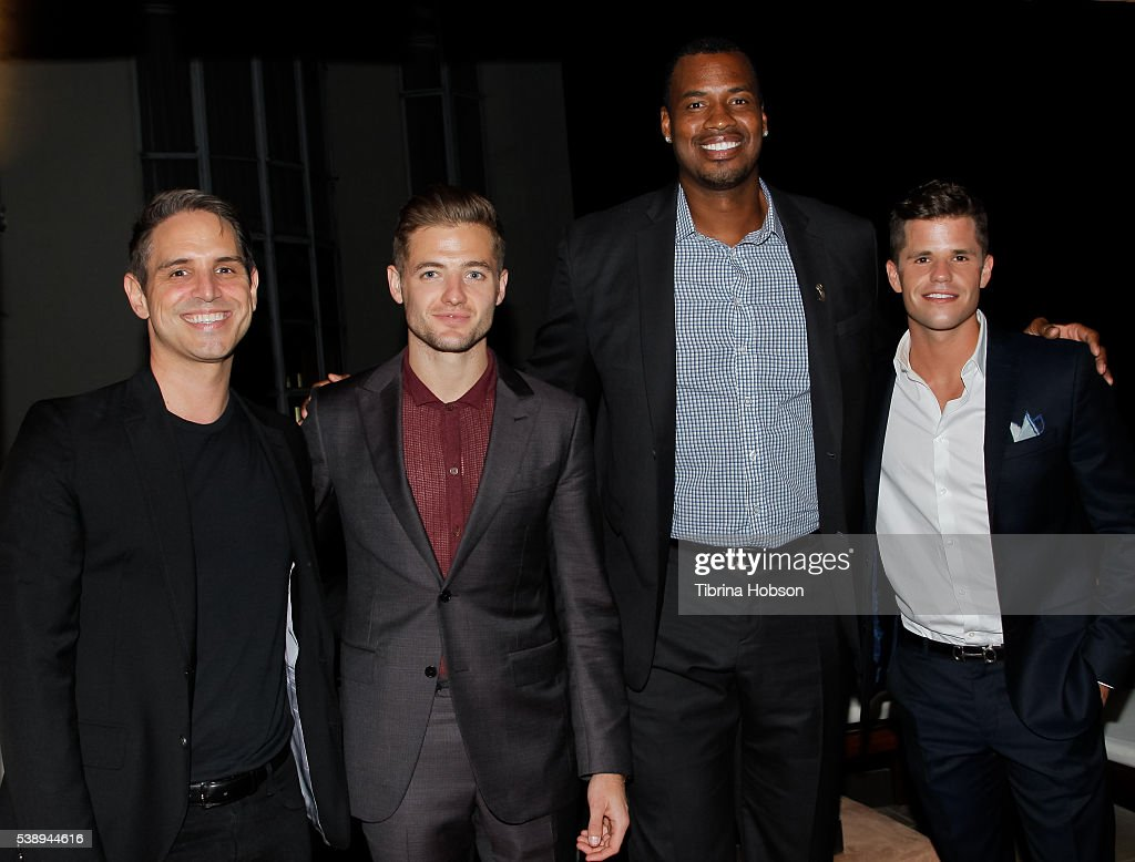 Greg Berlanti Robbie Rogers Jason Collins and Charlie Carver attend GLSEN Pride Celebration in Los Angeles at Sunset Tower Hotel on June 8 2016 in...