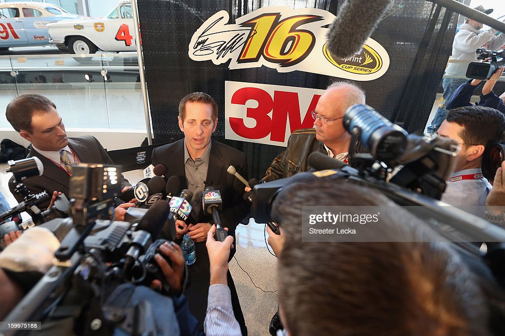 Greg Biffle, driver for Roush Fenway Racing, speaks to the media during the 2013 NASCAR Sprint Media Tour on January 24, 2013 in Concord, North Carolina.