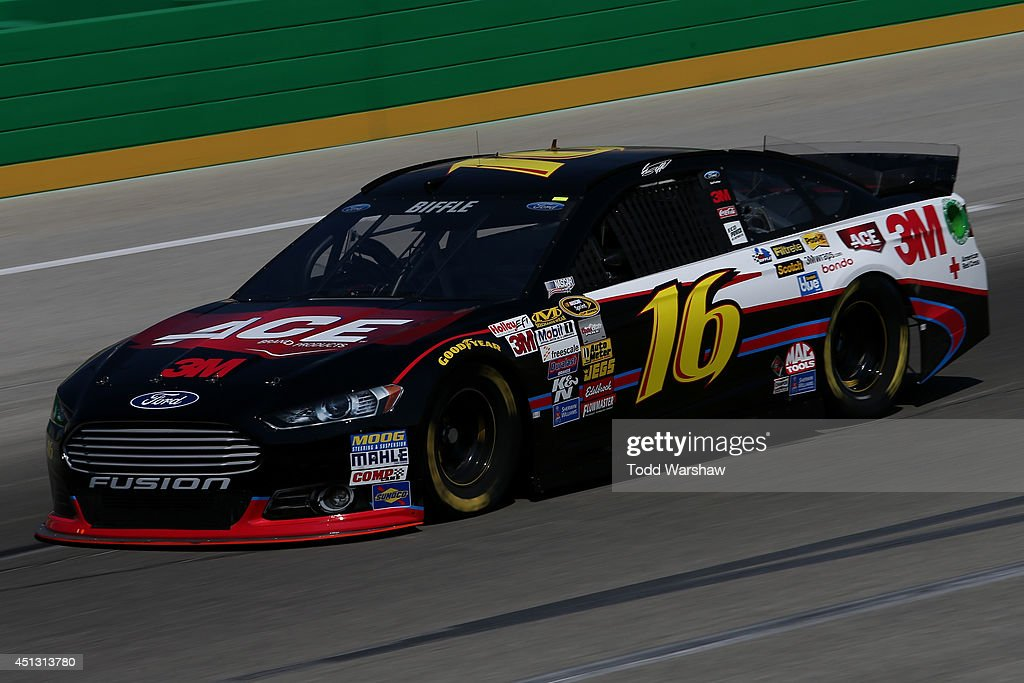 Greg Biffle, driver of the #16 3M ACE Bandage Ford, during practice for the NASCAR Sprint Cup Series Quaker State 400 presented by Advance Auto Parts at Kentucky Speedway on June 27, 2014 in Sparta, Kentucky.