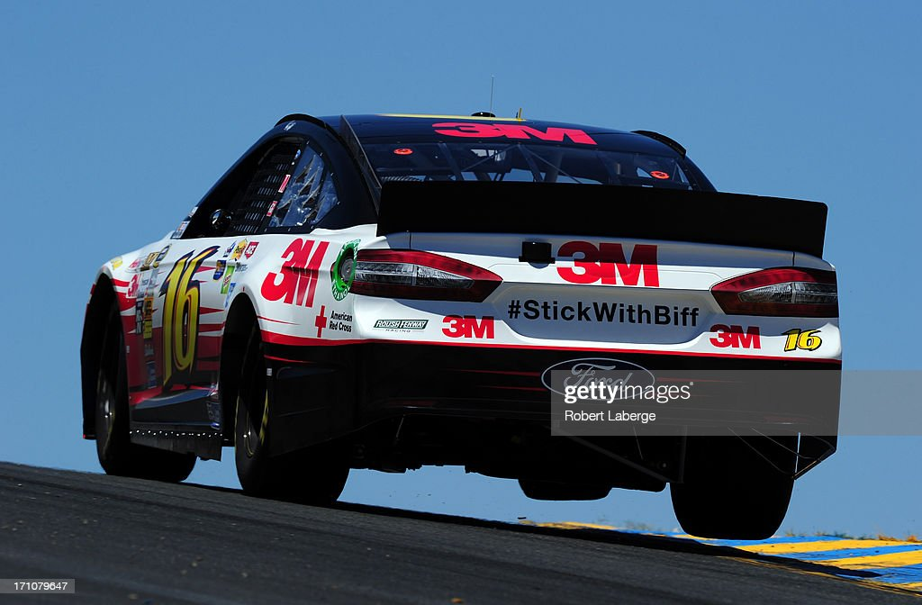 <a gi-track='captionPersonalityLinkClicked' href=/galleries/search?phrase=Greg+Biffle&family=editorial&specificpeople=209093 ng-click='$event.stopPropagation()'>Greg Biffle</a>, driver of the #16 3M Ford, drives during practice for the NASCAR Sprint Cup Series Toyota/Save Mart 350 at Sonoma Raceway on June 21, 2013 in Sonoma, California.