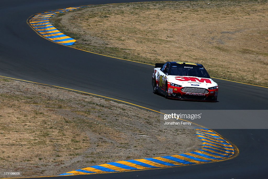 <a gi-track='captionPersonalityLinkClicked' href=/galleries/search?phrase=Greg+Biffle&family=editorial&specificpeople=209093 ng-click='$event.stopPropagation()'>Greg Biffle</a>, driver of the #16 3M Ford, drives during qualifying for the NASCAR Sprint Cup Series Toyota/Save Mart 350 at Sonoma Raceway on June 22, 2013 in Sonoma, California.