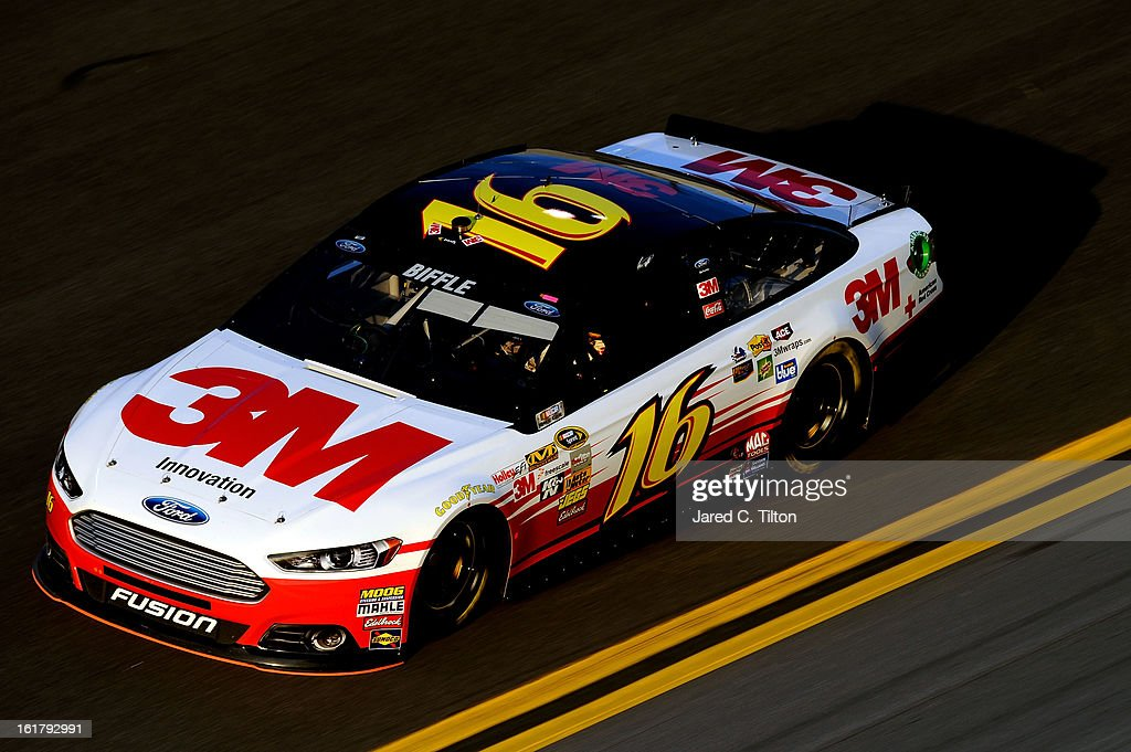 Greg Biffle, driver of the #16 3M Ford, during practice for the NASCAR Sprint Cup Series Daytona 500 at Daytona International Speedway on February 16, 2013 in Daytona Beach, Florida