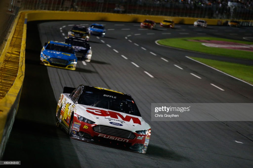 <a gi-track='captionPersonalityLinkClicked' href=/galleries/search?phrase=Greg+Biffle&family=editorial&specificpeople=209093 ng-click='$event.stopPropagation()'>Greg Biffle</a>, driver of the #16 3M Ford, during the NASCAR Sprint Cup Series Bank of America 500 at Charlotte Motor Speedway on October 12, 2013 in Concord, North Carolina.