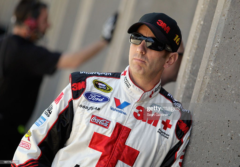 <a gi-track='captionPersonalityLinkClicked' href=/galleries/search?phrase=Greg+Biffle&family=editorial&specificpeople=209093 ng-click='$event.stopPropagation()'>Greg Biffle</a>, driver of the #16 3M Ford, looks on during NASCAR Sprint Cup Series Gen-6 Testing at Texas Motor Speedway on April 11, 2013 in Fort Worth, Texas.