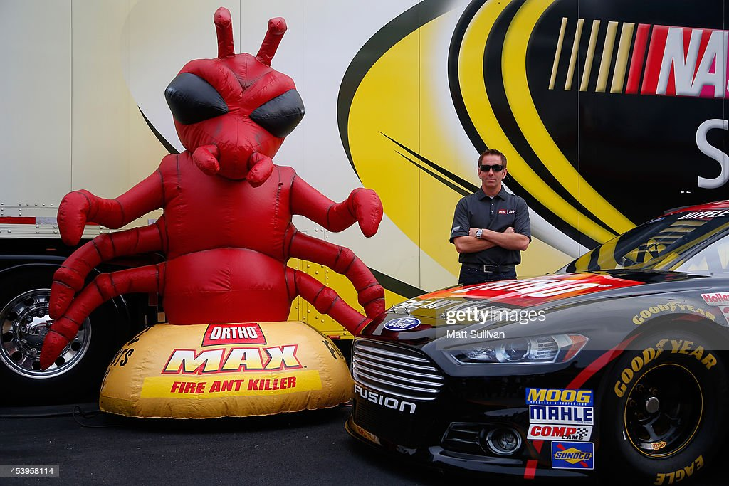 Greg Biffle, driver of the #16 3M Hire Our Heroes Ford, poses for a photo opportunity prior to practice for the NASCAR Sprint Cup Series Irwin Tools Night Race at Bristol Motor Speedway on August 22, 2014 in Bristol, Tennessee.