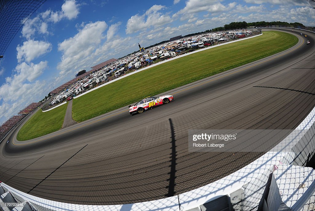 <a gi-track='captionPersonalityLinkClicked' href=/galleries/search?phrase=Greg+Biffle&family=editorial&specificpeople=209093 ng-click='$event.stopPropagation()'>Greg Biffle</a>, driver of the #16 3M/Give Kids a Smile Ford, races during the NASCAR Sprint Cup Series Quicken Loans 400 at Michigan International Speedway on June 16, 2013 in Brooklyn, Michigan.