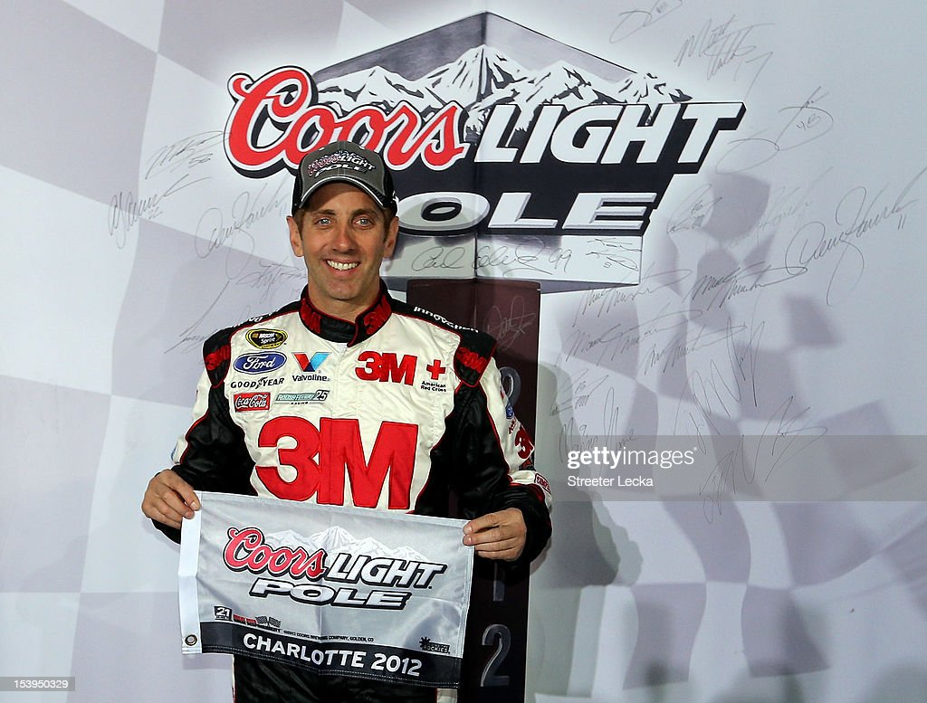 <a gi-track='captionPersonalityLinkClicked' href=/galleries/search?phrase=Greg+Biffle&family=editorial&specificpeople=209093 ng-click='$event.stopPropagation()'>Greg Biffle</a>, driver of the #16 3M/IDG Ford, poses with the pole award after qualifying for pole position for the NASCAR Sprint Cup Series Bank of America 500 at Charlotte Motor Speedway on October 11, 2012 in Charlotte, North Carolina.