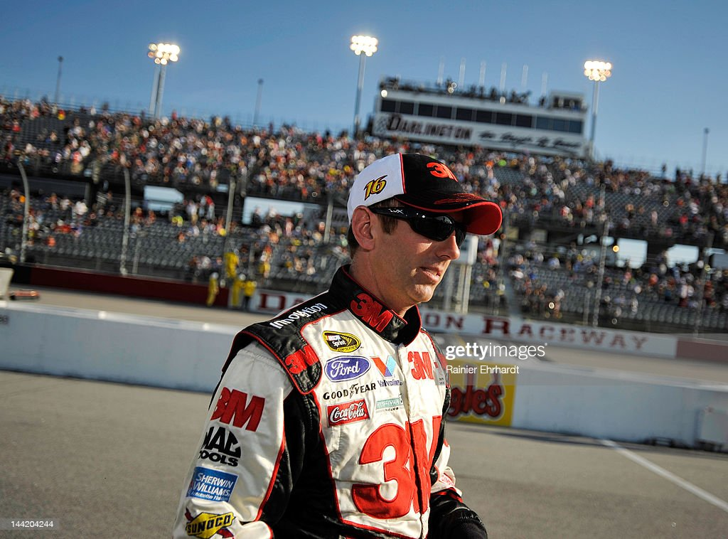 <a gi-track='captionPersonalityLinkClicked' href=/galleries/search?phrase=Greg+Biffle&family=editorial&specificpeople=209093 ng-click='$event.stopPropagation()'>Greg Biffle</a>, driver of the #16 3M/OH/ES Ford, stands on the grid during qualifying for the NASCAR Sprint Cup Series Bojangles' Southern 500 at Darlington Raceway on May 11, 2012 in Darlington, South Carolina.