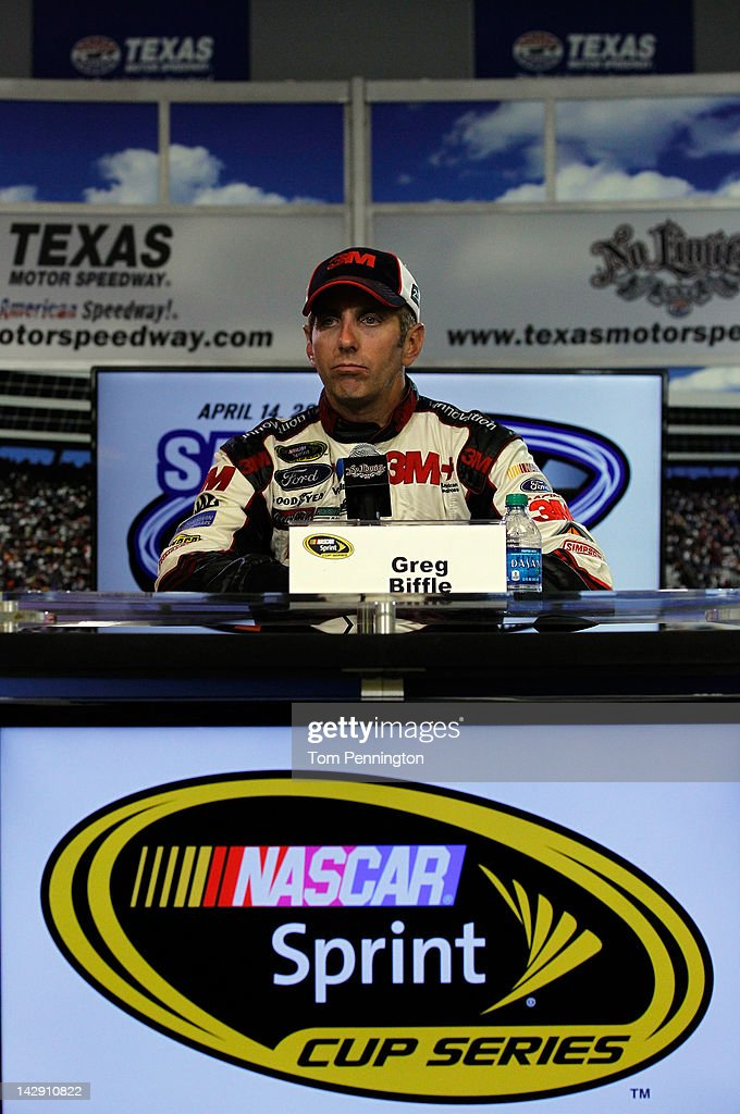 <a gi-track='captionPersonalityLinkClicked' href=/galleries/search?phrase=Greg+Biffle&family=editorial&specificpeople=209093 ng-click='$event.stopPropagation()'>Greg Biffle</a>, driver of the #16 Filtrete Ford, talks with the media after winning the NASCAR Sprint Cup Series Samsung Mobile 500 at Texas Motor Speedway on April 14, 2012 in Fort Worth, Texas.