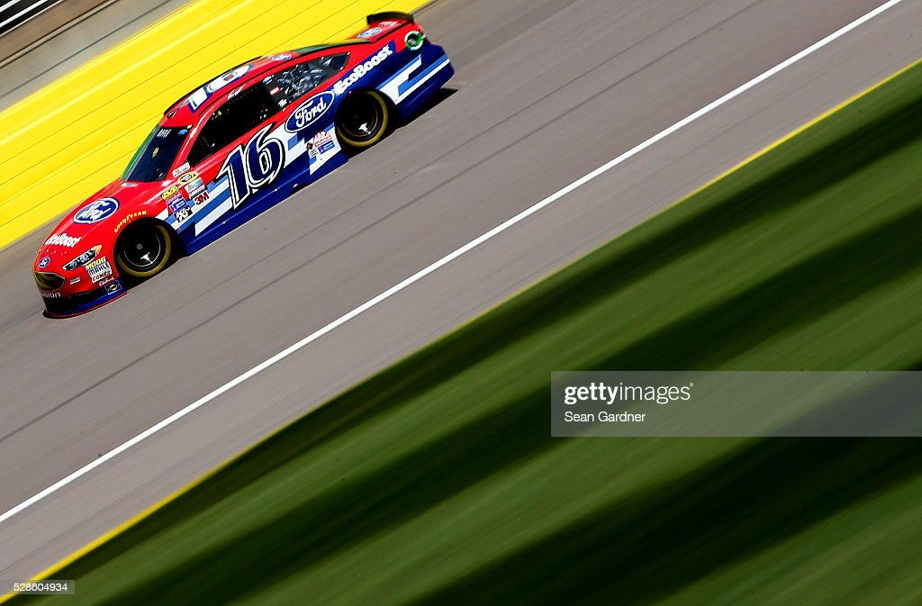 Greg Biffle, driver of the #16 Ford EcoBoost Ford, drives during practice for the NASCAR Sprint Cup Series Go Bowling 400 at Kansas Speedway on May 6, 2016 in Kansas City, Kansas.