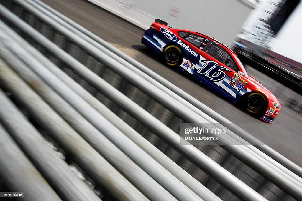 <a gi-track='captionPersonalityLinkClicked' href=/galleries/search?phrase=Greg+Biffle&family=editorial&specificpeople=209093 ng-click='$event.stopPropagation()'>Greg Biffle</a>, driver of the #16 Ford EcoBoost Ford, drives through the garage area during practice for the NASCAR Sprint Cup Series GEICO 500 at Talladega Superspeedway on April 29, 2016 in Talladega, Alabama.