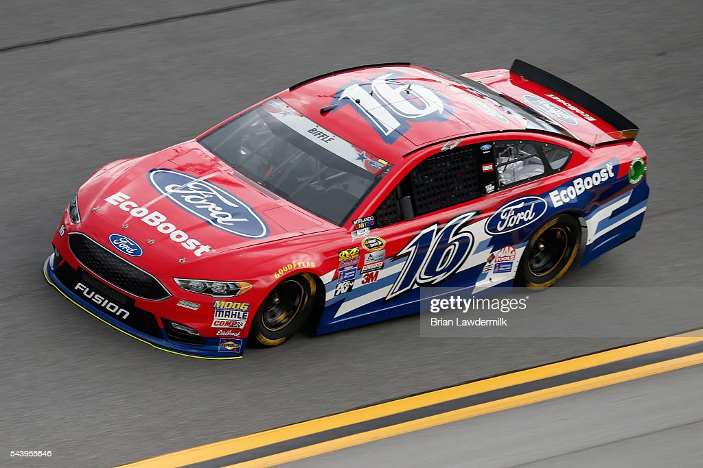 <a gi-track='captionPersonalityLinkClicked' href=/galleries/search?phrase=Greg+Biffle&family=editorial&specificpeople=209093 ng-click='$event.stopPropagation()'>Greg Biffle</a>, driver of the #16 Ford EcoBoost Ford, practices for the NASCAR Sprint Cup Series Coke Zero 400 at Daytona International Speedway on June 30, 2016 in Daytona Beach, Florida.