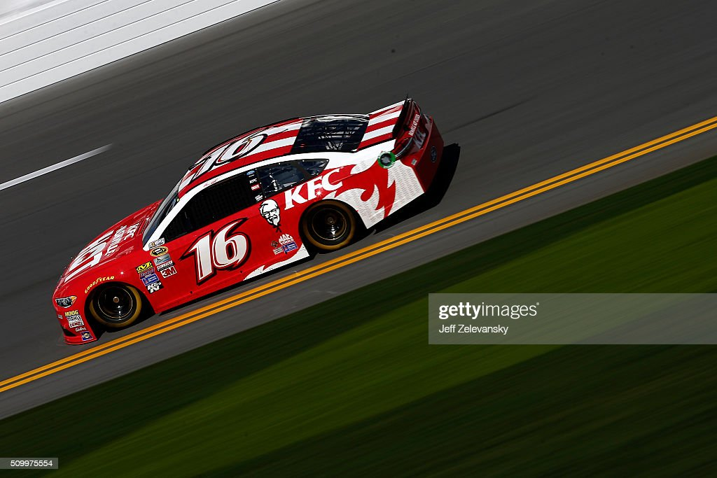 Greg Biffle, driver of the #16 KFC Nashville Hot Ford, practices for the NASCAR Sprint Cup Series Daytona 500 at Daytona International Speedway on February 13, 2016 in Daytona Beach, Florida.