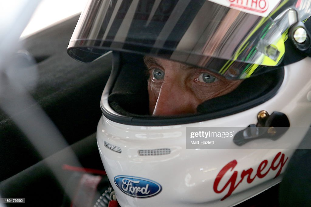 <a gi-track='captionPersonalityLinkClicked' href=/galleries/search?phrase=Greg+Biffle&family=editorial&specificpeople=209093 ng-click='$event.stopPropagation()'>Greg Biffle</a>, driver of the #16 Ortho Ford, sits in his car during practice for the NASCAR Sprint Cup Series Bojangles' Southern 500 at Darlington Raceway on September 4, 2015 in Darlington, South Carolina.