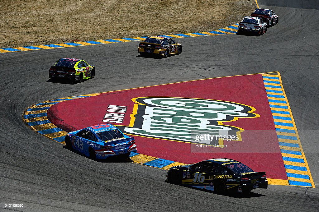 <a gi-track='captionPersonalityLinkClicked' href=/galleries/search?phrase=Greg+Biffle&family=editorial&specificpeople=209093 ng-click='$event.stopPropagation()'>Greg Biffle</a>, driver of the #16 Performance Plus Motor Oil Ford, follows a pack of cars during the NASCAR Sprint Cup Series Toyota/Save Mart 350 at Sonoma Raceway on June 26, 2016 in Sonoma, California.