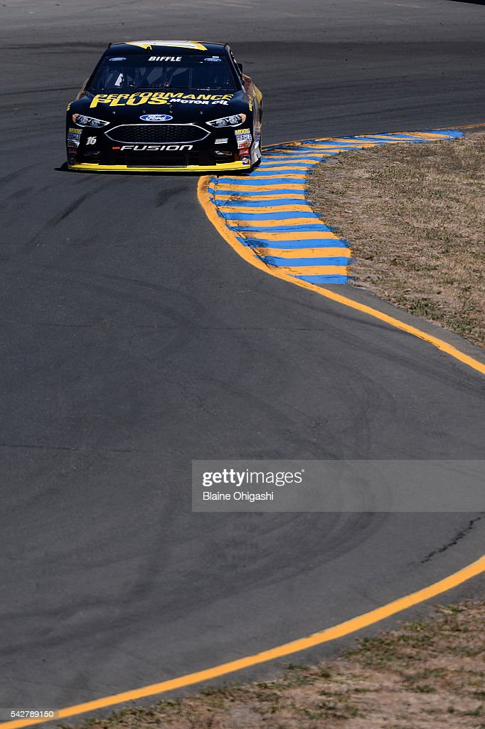 <a gi-track='captionPersonalityLinkClicked' href=/galleries/search?phrase=Greg+Biffle&family=editorial&specificpeople=209093 ng-click='$event.stopPropagation()'>Greg Biffle</a>, driver of the #16 Performance Plus Motor Oil Ford, practices for the NASCAR Sprint Cup Series Toyota/Save Mart 350 at Sonoma Raceway on June 24, 2016 in Sonoma, California.