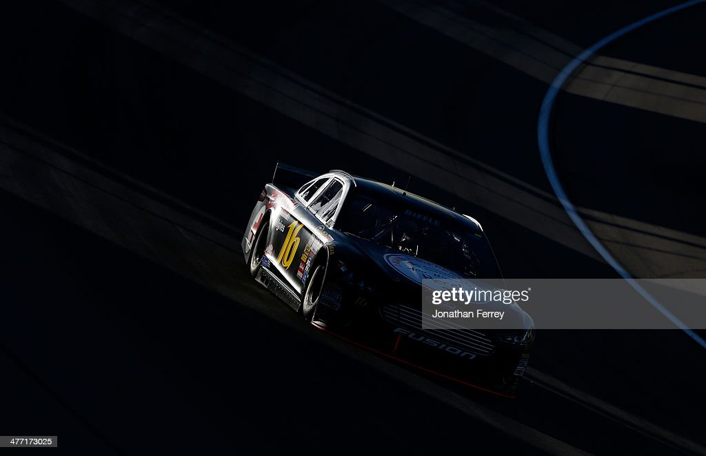 Greg Biffle, driver of the #16 Red Cross Ford, drives during qualifying for the NASCAR Sprint Cup Series Kobalt 400 at Las Vegas Motor Speedway on March 7, 2014 in Las Vegas, Nevada.