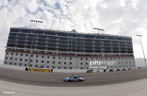 Greg Biffle drives the 3M ScotchBlue Painter's Tape Ford during the NASCAR Sprint Cup Series AAA Texas 500 at Texas Motor Speedway on November 6 2011...