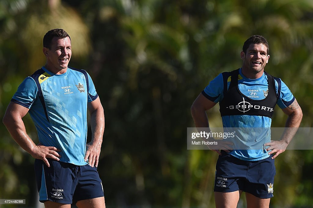 Greg Bird and Beau Falloon (R) smile during a Gold Coast Titans NRL training session on May 8, 2015 on the Gold Coast, Australia.