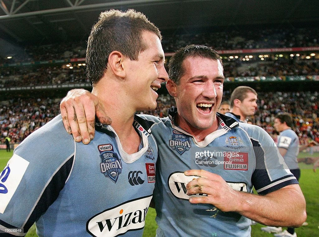 Greg Bird of the Blues and team mate Paul Gallen smile after winning game three of the State of Origin series between the Queensland Maroons and the New South Wales Blues at Suncorp Stadium July 4, 2007 in Brisbane, Australia. The Maroons won the series 2-1.