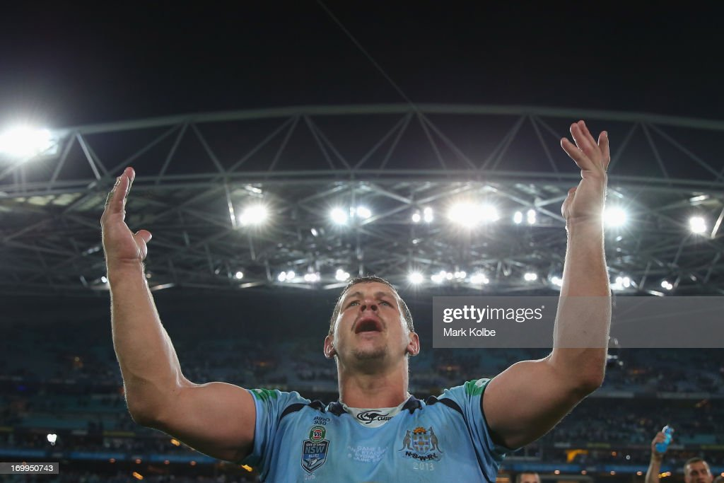 <a gi-track='captionPersonalityLinkClicked' href=/galleries/search?phrase=Greg+Bird+-+Rugby+Player&family=editorial&specificpeople=14983686 ng-click='$event.stopPropagation()'>Greg Bird</a> of the Blues celebrates victory during game one of the ARL State of Origin series between the New South Wales Blues and the Queensland Maroons at ANZ Stadium on June 5, 2013 in Sydney, Australia.